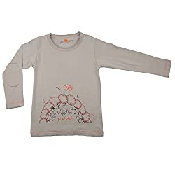 NeedyBee T-Shirt Planet Nature Theme Grey Full Sleeve Organic Soft Cotton Baby Boys Girls Kids' Cotton T-Shirt for 2 - 9 Years