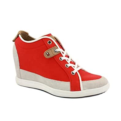 Tommy Hilfiger Stella 2 Womens Laced Canvas & Suede Wedge Trainers Red White - 41
