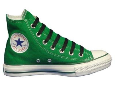 Converse Chuck Taylor All Star Hi Top Kelly Green Canvas Shoes with Extra Pair of Black Laces