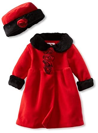 Good Lad Baby-Girls Infant Fur Trim Coat, Red, 12 Months
