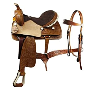 """Double T Pleasure Saddle,tooling, Incl. Headstall,breastcollar, 16"""" or 17"""" NEW (16)"""