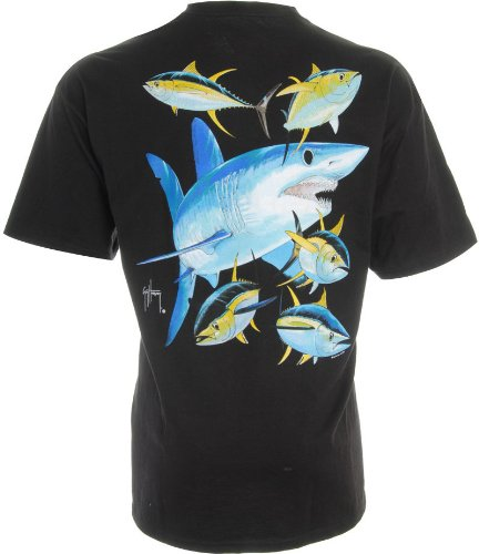 guy harvey mako shark t shirt black lg discount