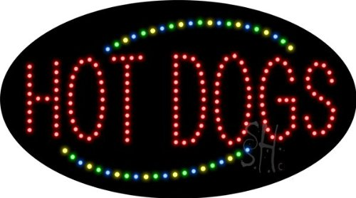 """Hot Dogs Animated Outdoor Led Sign 15"""" Tall X 27"""" Wide X 3.5"""" Deep"""