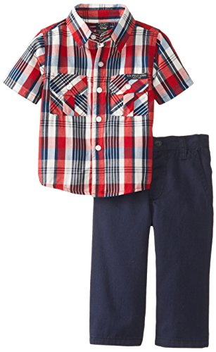 U.S. Polo Assn. Baby-Boys Infant Short Sleeve Plaid Shirt And Twill Pant Set, Engine Red, 12 Months