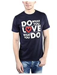 TOMO Men's Cotton Navy Blue Color Round Neck DO LOVE Printed T-shirt