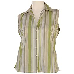 Colhers - Green Stripes Sleeveless Shirt - M