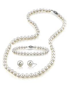 "14K Gold 6.5-7.0mm White Akoya Cultured Pearl Necklace, Bracelet & Earrings Set, 18"" Princess Length - AA+ Quality"