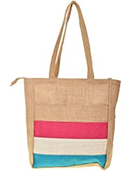 Saran Jute Bags Women's Multi Color Jute Handbag (SJB_52)