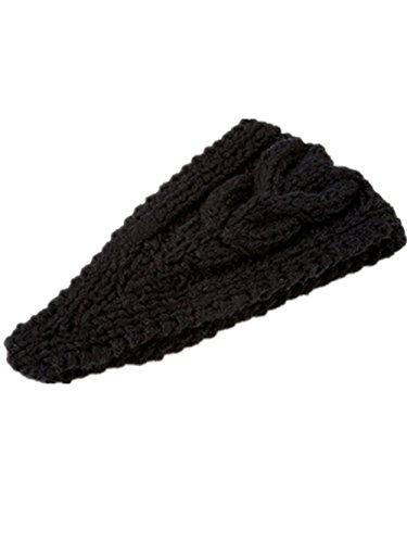Women Knit Headband Headwrap With Botton Back Fashion Ear Warmer Wine Red