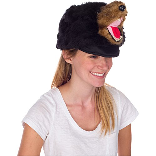 Rittle Furry Black Bear Animal Hat, Realistic Plush Costume Headwear, 1 Size