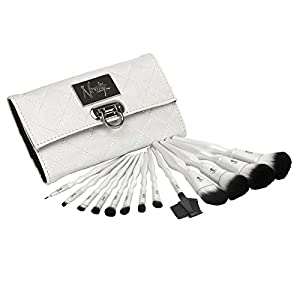 Nanshy Luxury Makeup Brush Set (13 Face and Eye Brushes with Elegant Brush Bag Case)