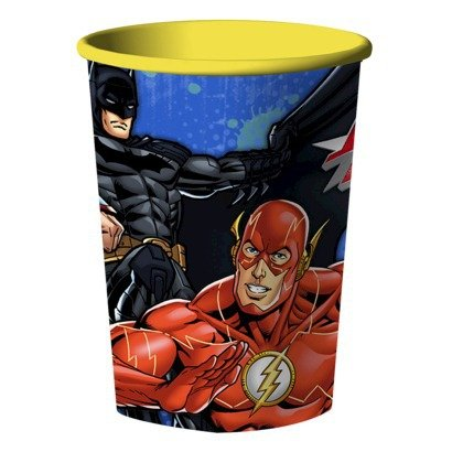 DC Comics Team Justice League - Batman Superman & Flash Reusable Keepsake 16 ounce Cup (Pack of 2)