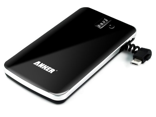 Anker SlimTalk 3200mAh Backup External Battery Pack Charger with Embedded Micro-USB and Flashlight for iPhone 5 4S 4 3GS 3G, iPod; Android Smartphones: HTC Sensation / Samsung Galaxy S3, S2, Samsung Galaxy Series Smartphones / Motorola Droid / LG Optimus, PSP, MP3 MP4 MP5 Players and Many More Mobile Devices - Black [Ultra Slim 0.4 Inch Profile]