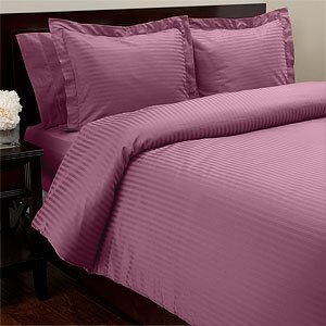SOHO Duvet Cover 1000tc Sateen Stripe Plum (Full/Queen)