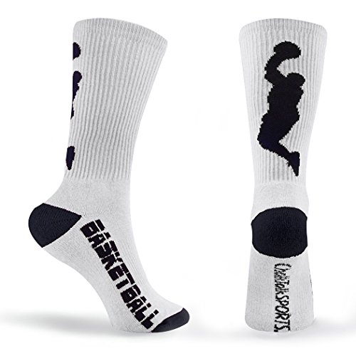 Athletic Half Cushioned Crew Socks | Basketball Player Design | White (Basketball Clothing compare prices)