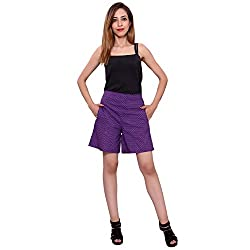 MSONS Women's Fusion Wear Purple Printed Shorts- Free Size