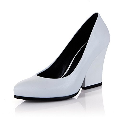 Voguezone009 Womens Closed Pointed Toe Soft Microfibre High Heels Solid Pump Shoes, White, 5 B(M) Us