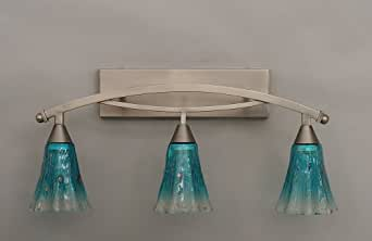 Colored Glass Vanity Light : Bow 3 Light Bath Vanity Light Finish: Brushed Nickel, Shade Color: Teal Crystal Glass - Vanity ...
