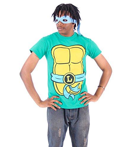[TMNT Teenage Mutant Ninja Turtles Leonardo Costume Green T-shirt with Blue Eye Mask (Adult Medium)] (Ninja Turtle Blue)