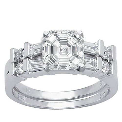 Where Can I Buy 1.23 Carat Asscher Cut / Shape 14K White Gold Channel Set Baguette And Round Diamond Engagement Ring ( G-H Color , SI1 Clarity ) – Size 6.5