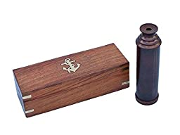 Handcrafted Decor FT-0224-BZ Deluxe Class Bronze Captains Spyglass Telescope with Rosewood Box, 15 in.