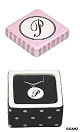 Initial Trinket Box & Necklace - Letter P Jewelry Box and Necklace