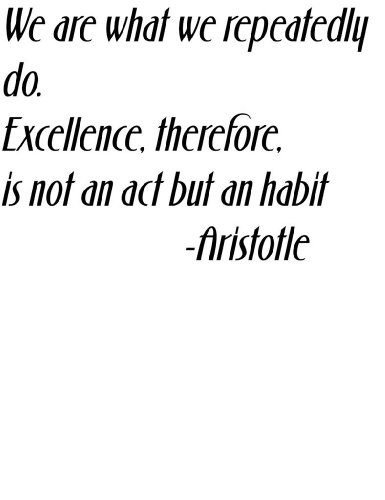 We Are What We Repeatedly Do. Excellence Therefore Is Not An Act But A Habit By Famous Philosopher Aristotle Attitude And Life Success Inspirational And Motivational Saying Art Quote - Home Room Wall Decal - Peel & Stick Lettering Sticker - Vinyl Wall Dec front-468621