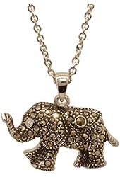Genuine Marcasite Elephant Pendant with Chain