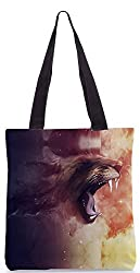 Snoogg Universe Tiger Poly Canvas Tote Bag