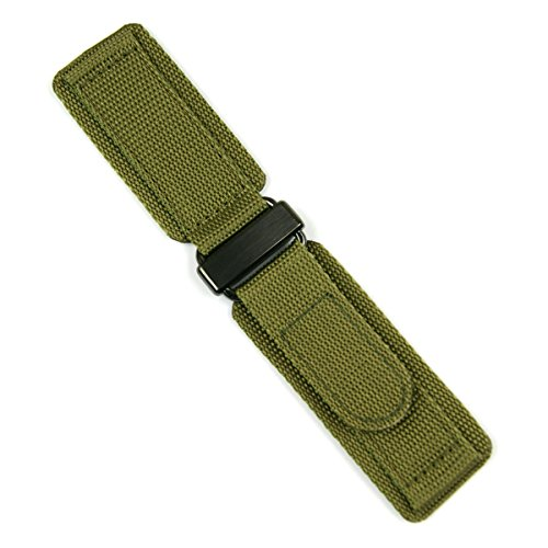 24mm Drab Olive Double Layer Nylon Velcro Watch Band for Bell & Ross BR01 BR03 with Carbon Buckle MEDIUM