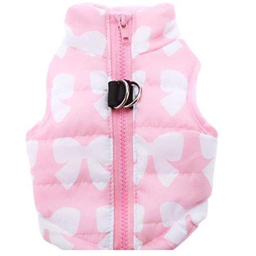 YiJee Animale Domestico Cane Vestiti Gilet Imbottito Abbigliamento Cappotto Giacca Pink S