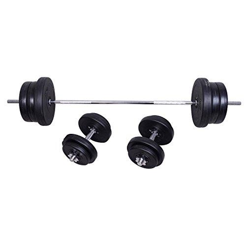Outsunny - Set Bilanciere + 2 manubri pesi 70kg - 14 Dischi