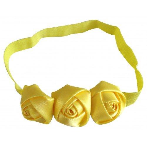 PinkXenia Yellow 3 Rosset Flower Elastic Newborn BabyGirl Soft Headband