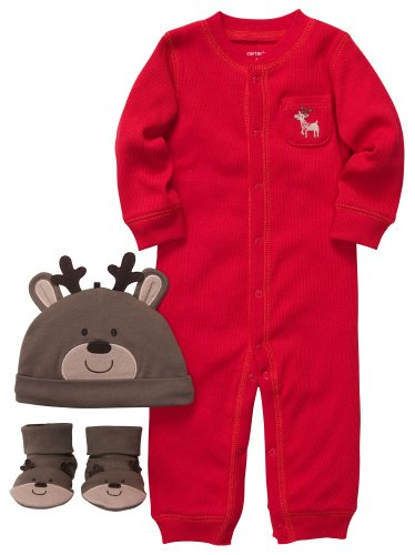 Carter'S Unisex Baby 3-Piece Christmas Reindeer Outfit Set (Nb-9M) (3 Months)