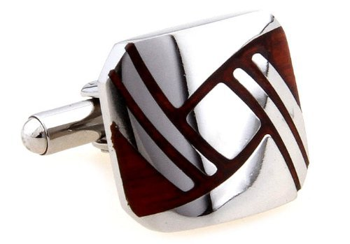 MFYS Stainless Steel Red Wood Geometric Figure Cufflinks For Men With Box