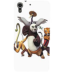 PrintDhaba Panda D-5346 Back Case Cover for HTC DESIRE 728 (Multi-Coloured)