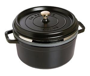 Staub 40510-606-0 Casserole Dish Round and Flat with Steam Insert 26 cm Black