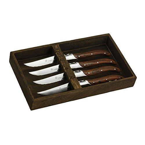 Legnoart LA-SK-5 4 Piece Fassona Steak Knife Set with Pakka Wood Handle in Wooden Crate, Brown