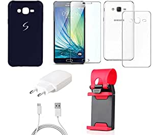 NIROSHA Tempered Glass Screen Guard Cover Case Charger Mobile Holder for Samsung Galaxy ON5 - Combo
