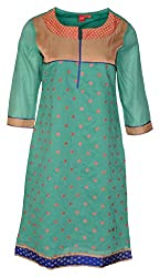 Zele Women's Cotton Straight Kurti (Z0001-A_Multi-Colour_Large)