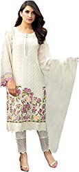 Rooh Creation Women's Faux Georgette Semi Stitched Dress Material (White_Free Size)