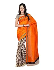 ISHIN Bhagalpuri Silk Orange & Beige Printed Saree