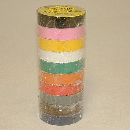 JVCC E-Tape Electrical Tape Rainbow Pack, 66' Length x 3/4