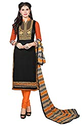 Craftliva Black & Orange Embroidery Chanderi Cotton Dress Material