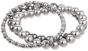 Grey 4mm and 8mm Simulated Pearl Stretch Bracelet Set