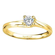 buy 0.2 Ct. Charles Colvard Created Moissanite Bypass Solitaire Engagement Ring In 10K Yellow Gold (1/6 Ct. Twt.)