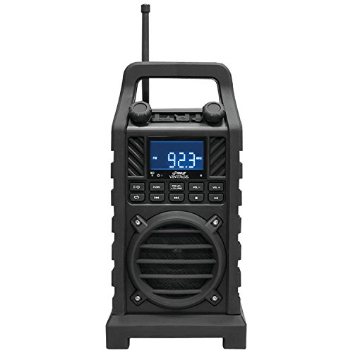 PYLE-HOME PWPBT250BK Rugged-Portable Bluetooth Speaker with FM Radio, USB/SD Readers and Built-in Rechargeable Battery, Black