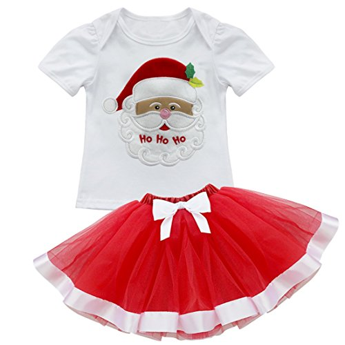 TiaoBug 2Pcs Infant Girls Christmas Tops with Tutu Skirt Outfits (4T, Xmas Santa)