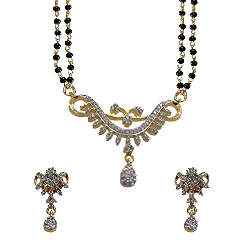 Sheetal Jewellery Silver & Golden Brass & Alloy Mangalsutra For Women - B00TIGZK1Q