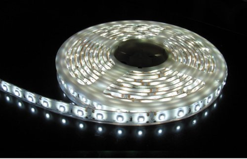 Flexible Waterproof Lighting Strip LED Ribbon 5 Meter or 16.4 Ft 12v for All your Decorations (White) with Power Adapter included